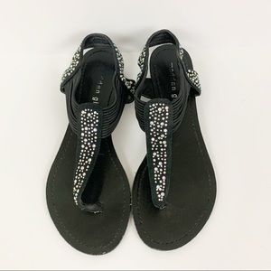 Madden Girl Black Crystal Detail Flat Sandals 6.5